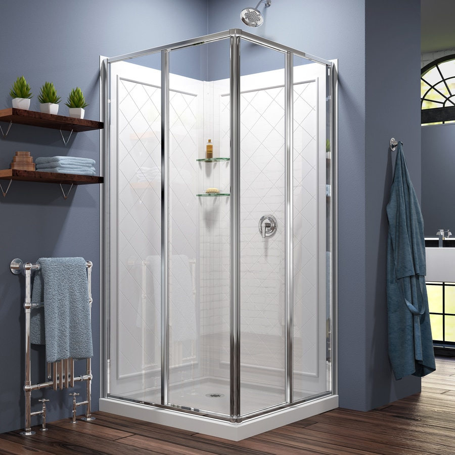 DreamLine Cornerview White Wall Acrylic Floor Square 3 Piece Corner Shower  Kit (Actual:
