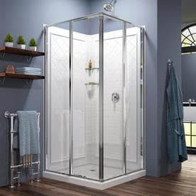 dreamline cornerview white acrylic wall and floor square 3 piece corner shower kit actual