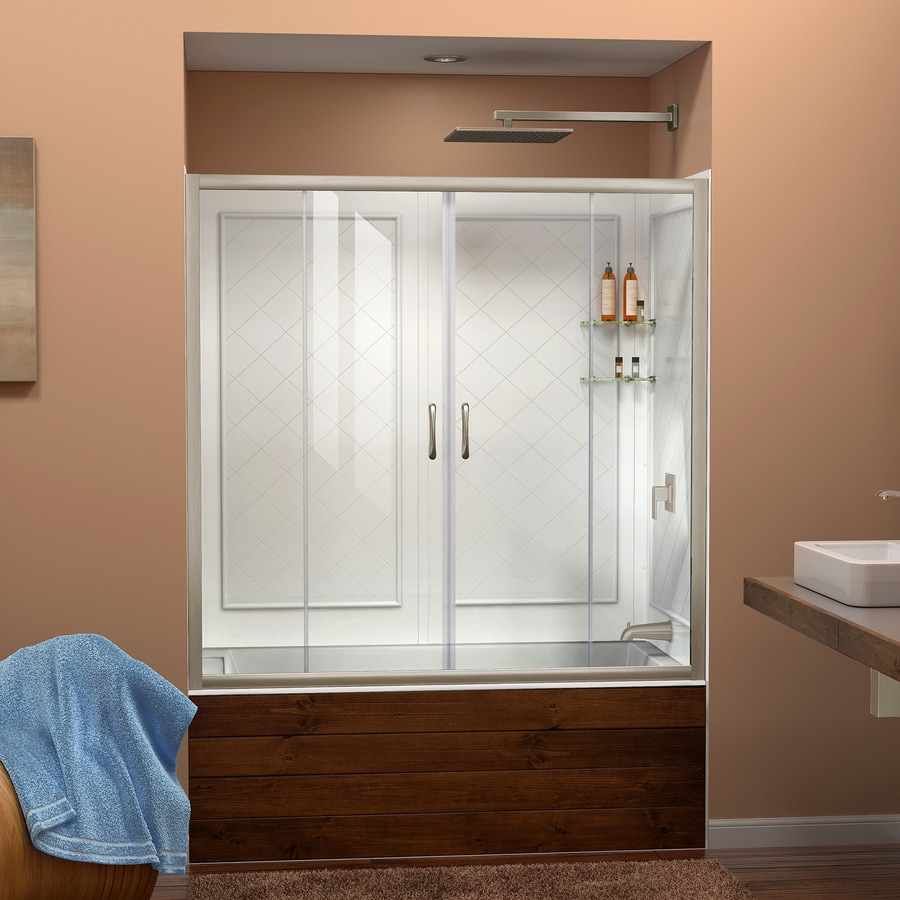 DreamLine Visions Brushed Nickel 2-Piece Alcove Shower Kit (Common: 32-in x 60-in; Actual: 60-in x 32-in x 60-in)