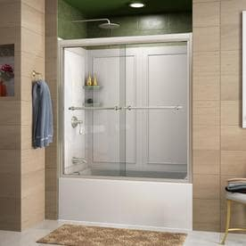 DreamLine Duet Brushed Nickel Acrylic Wall 2-Piece Alcove Shower Kit (Common: 32