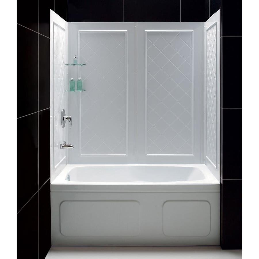 Shop DreamLine Qwall-Tub White Acrylic Bathtub Wall Surround (Common ...