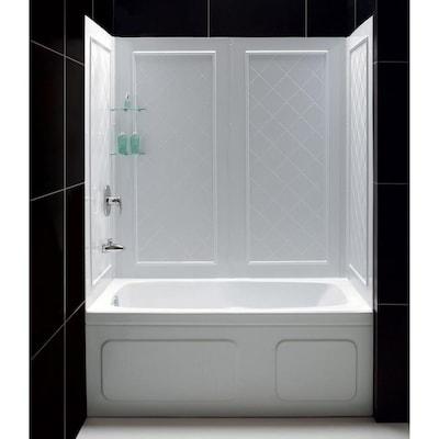 Qwall Tub White Acrylic Bathtub Wall Surround Common 60 In X 32 Actual
