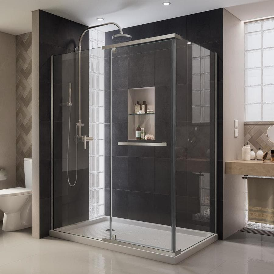 DreamLine Quatra 58.375-in to 58.75-in W Frameless Brushed Nickel Pivot Shower Door
