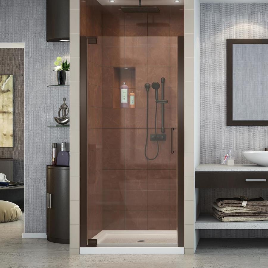 DreamLine Elegance 34-in to 36-in W Frameless Oil-Rubbed Bronze Pivot Shower Door
