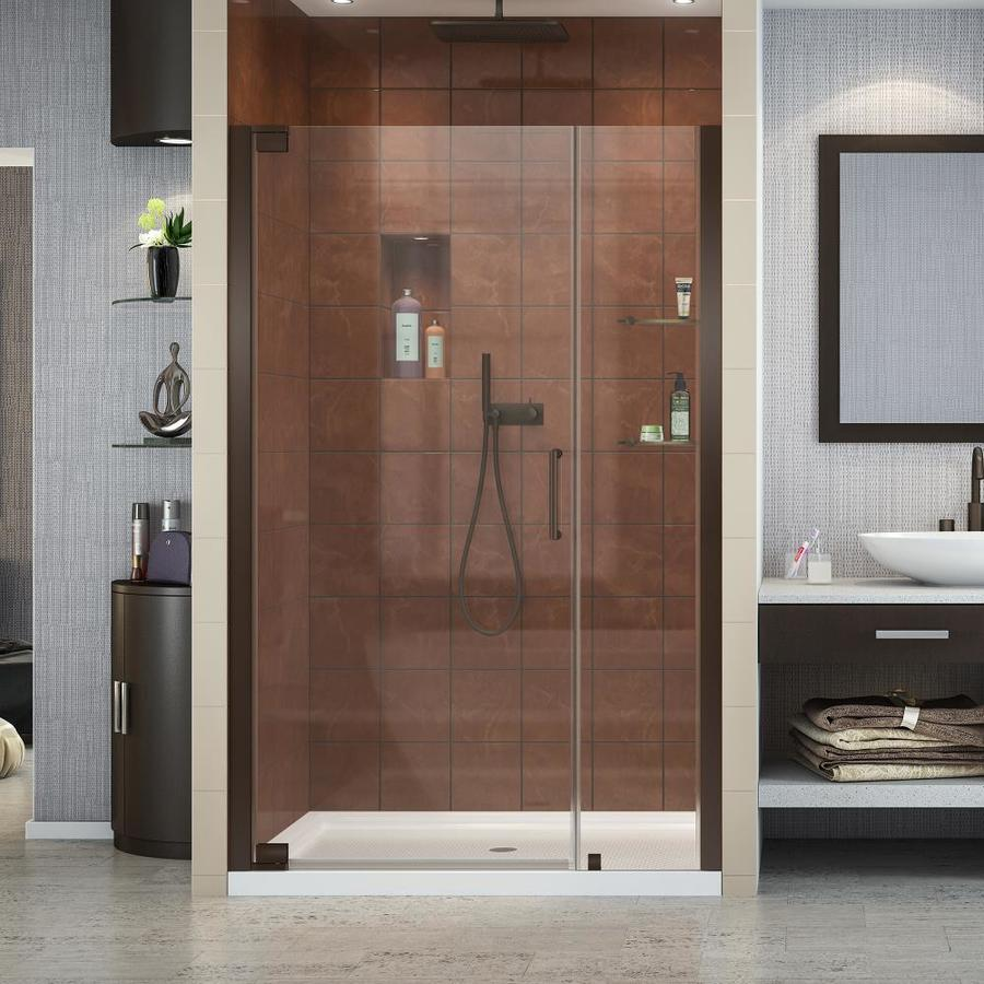 DreamLine Elegance 46-in to 48-in W Frameless Oil-Rubbed Bronze Pivot Shower Door