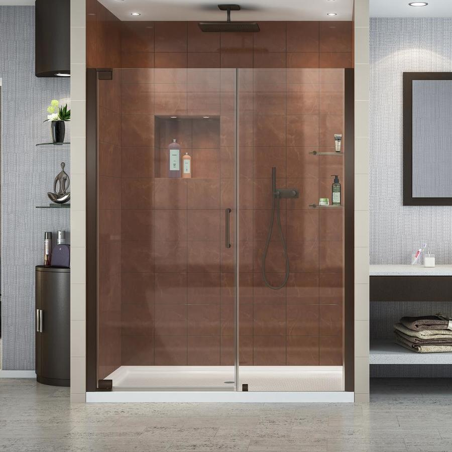 DreamLine Elegance 51-in to 53-in Frameless Oil-Rubbed Bronze Pivot Shower Door