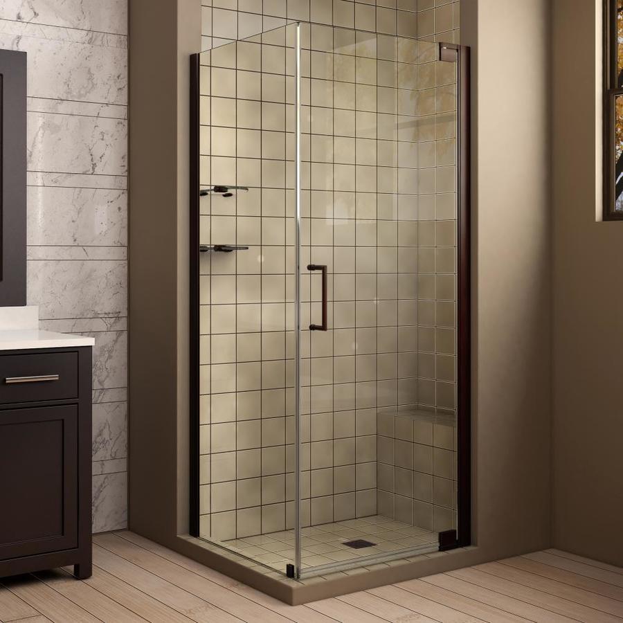 DreamLine Elegance 32-in to 32-in Frameless Oil-Rubbed Bronze Pivot Shower Door