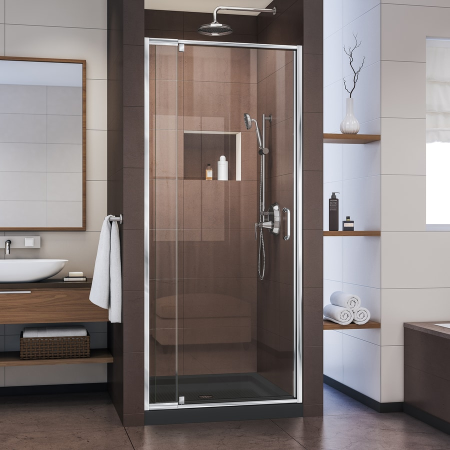 DreamLine Flex 32-in to 36-in W Frameless Chrome Pivot Shower Door