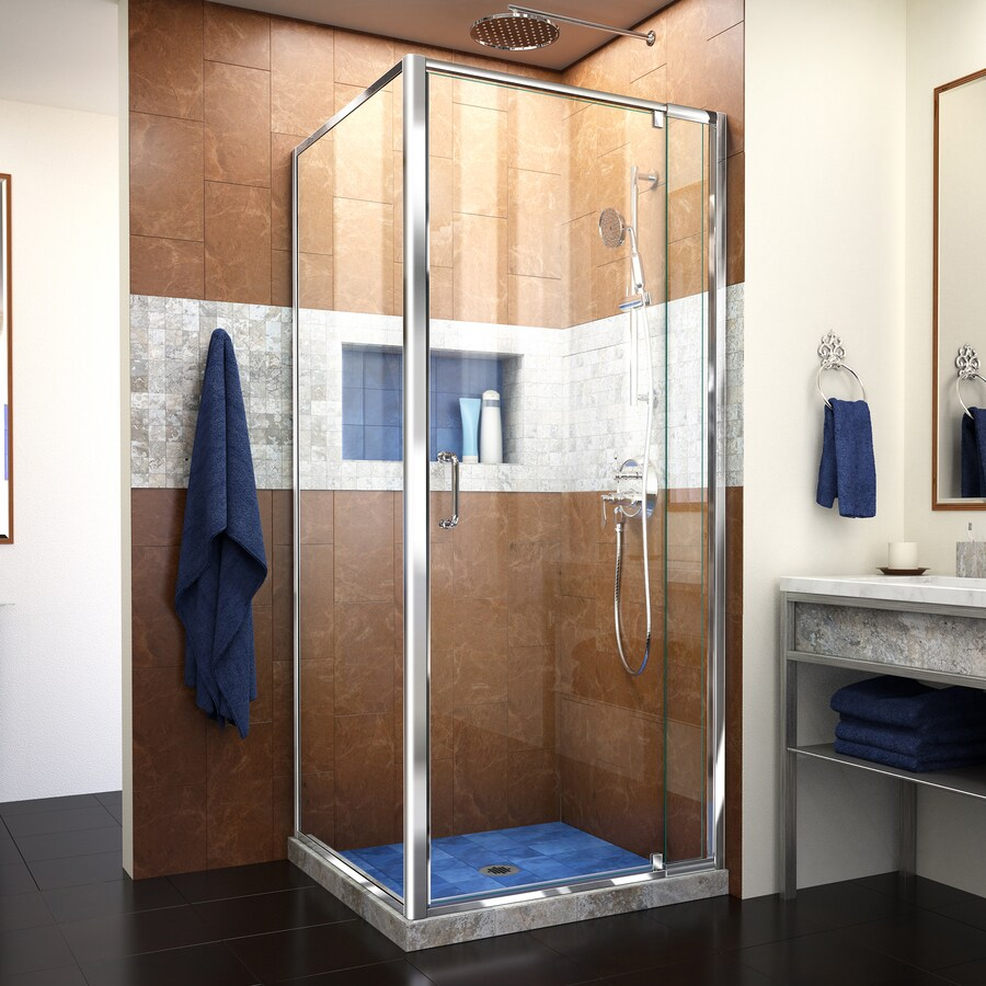 DreamLine Flex 32.4375-in to 36.4375-in Polished Chrome Frameless Pivot Shower Door