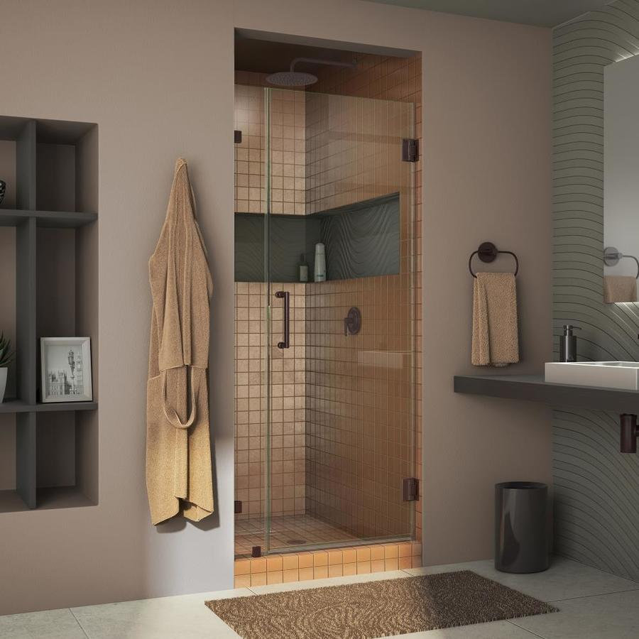 DreamLine Unidoor Lux 32-in to 32-in W Frameless Oil Rubbed Bronze Hinged Shower Door