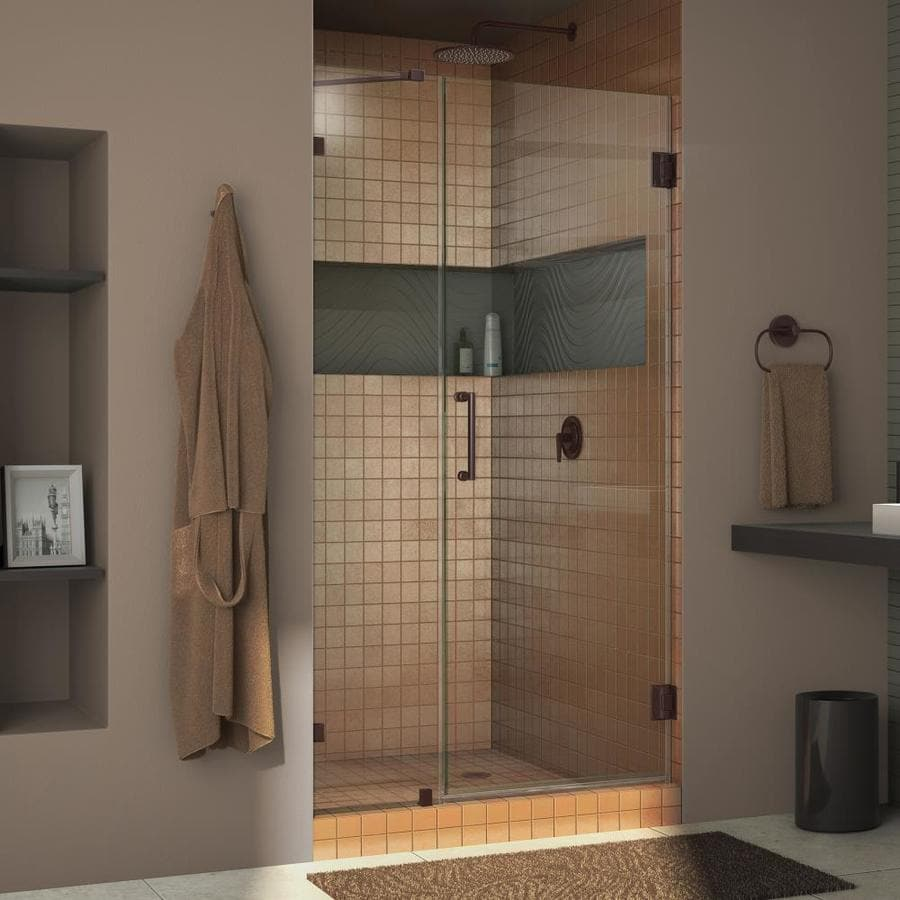DreamLine Unidoor Lux 42-in to 42-in W Frameless Oil Rubbed Bronze Hinged Shower Door