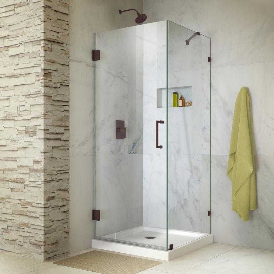 DreamLine Unidoor Lux 30.375-in to 30.375-in Frameless Hinged Shower Door