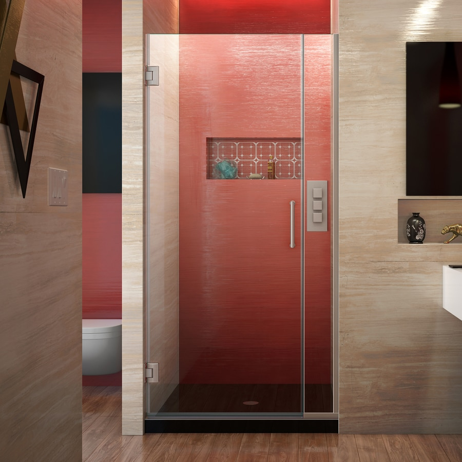 DreamLine Unidoor Plus 33-in to 33.5000-in Frameless Brushed Nickel Hinged Shower Door