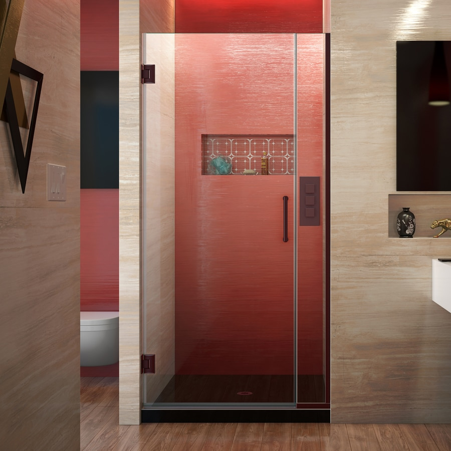 DreamLine Unidoor Plus 34-in to 34.5-in W Frameless Oil Rubbed Bronze Hinged Shower Door