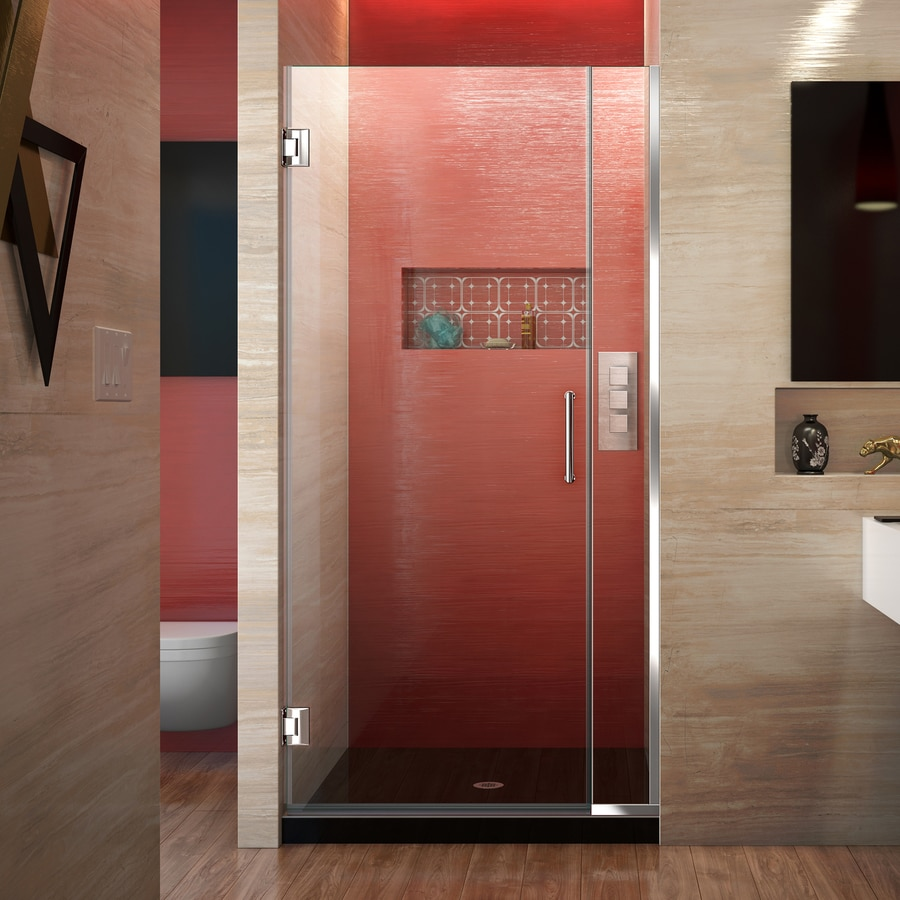 DreamLine Unidoor Plus 29.5-in to 30-in W Frameless Chrome Hinged Shower Door