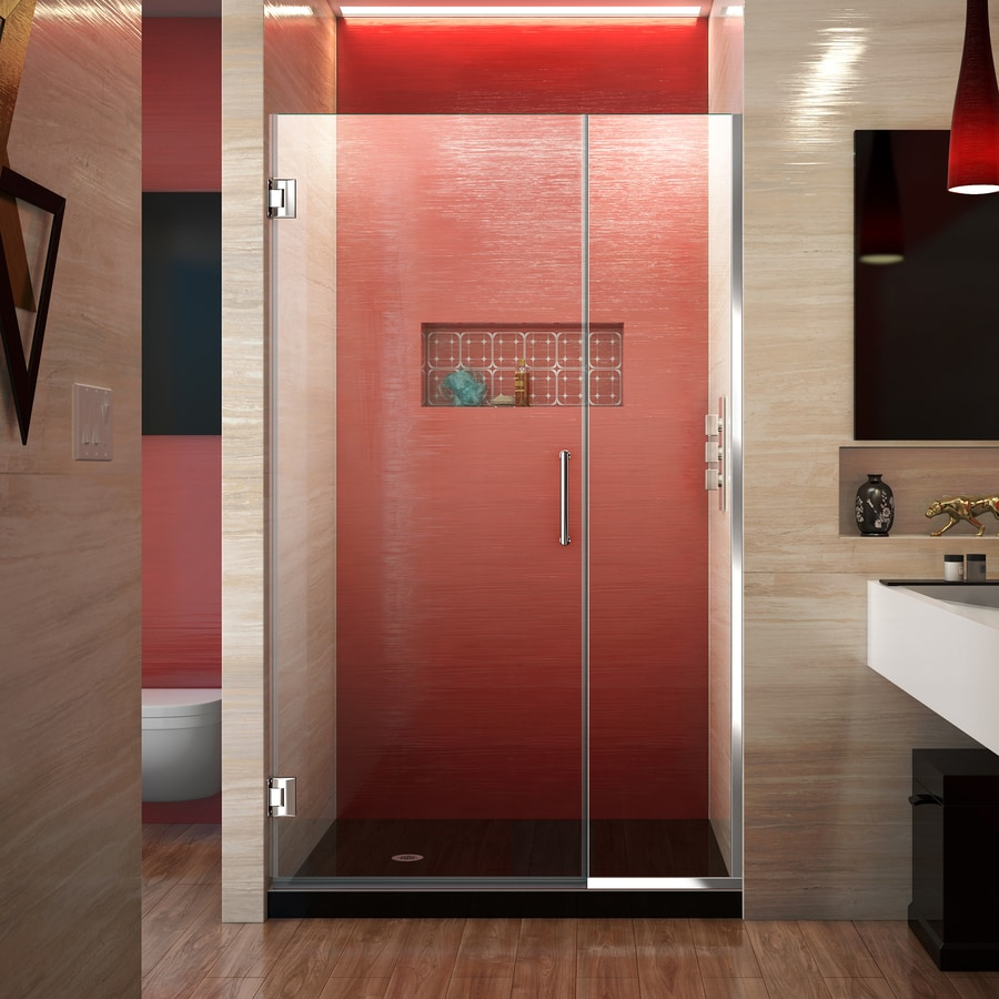 DreamLine Unidoor Plus 41-in to 41.5-in W Frameless Chrome Hinged Shower Door