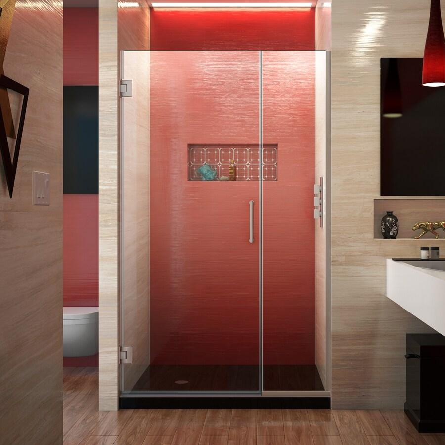 DreamLine Unidoor Plus 44.5-in to 45-in W Frameless Brushed Nickel Hinged Shower Door