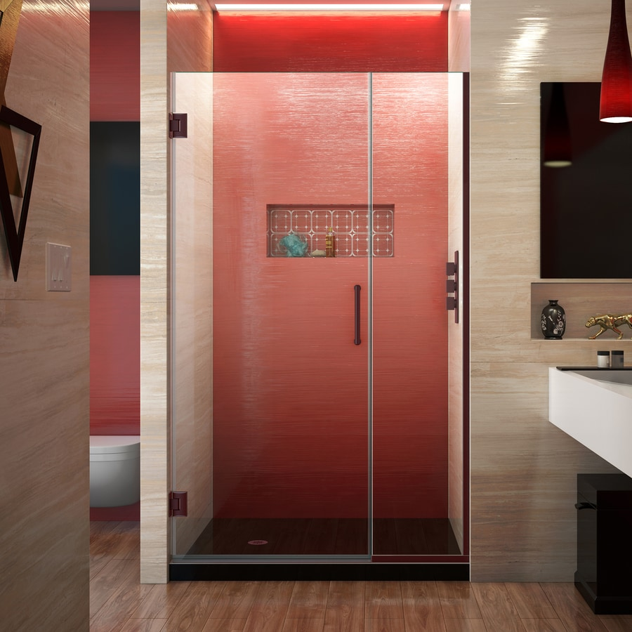 DreamLine Unidoor Plus 39.5-in to 40-in W Frameless Oil Rubbed Bronze Hinged Shower Door