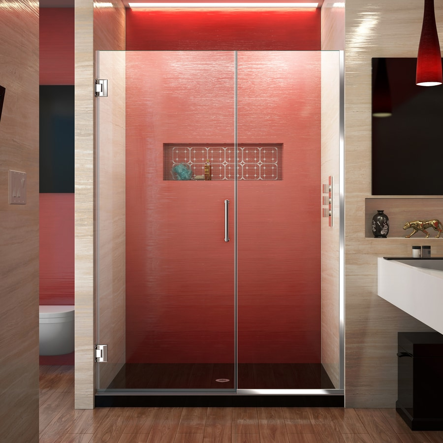 DreamLine Unidoor Plus 50-in to 50.5-in W Frameless Chrome Hinged Shower Door