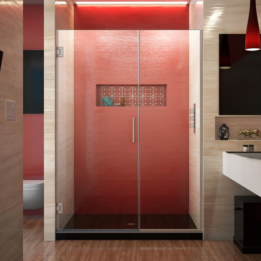 DreamLine Unidoor Plus 47-in to 47.5-in W Frameless Brushed Nickel Hinged Shower Door