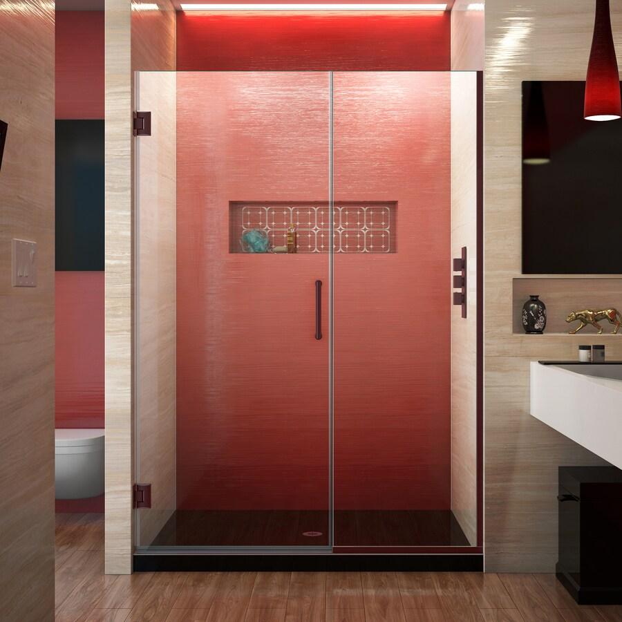 DreamLine Unidoor Plus 52-in to 52.5-in W Frameless Oil Rubbed Bronze Hinged Shower Door