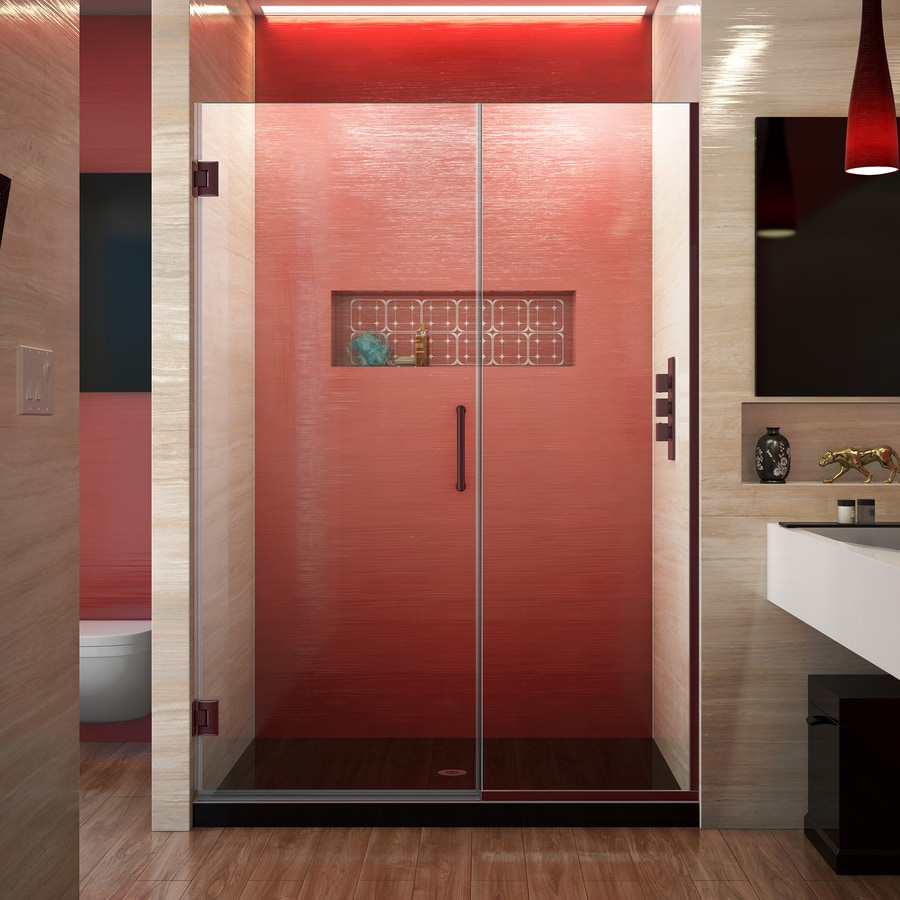 DreamLine Unidoor Plus 46.5-in to 47-in W Frameless Oil Rubbed Bronze Hinged Shower Door
