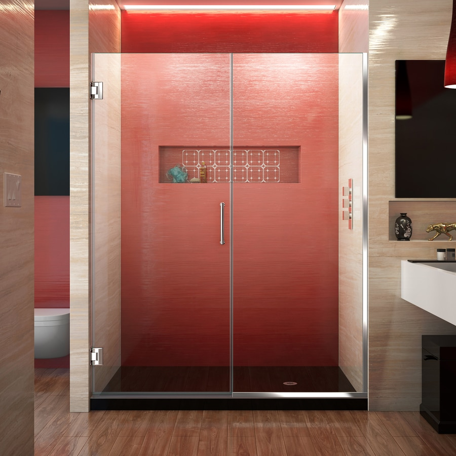 DreamLine Unidoor Plus 57-in to 57.5-in W Frameless Chrome Hinged Shower Door