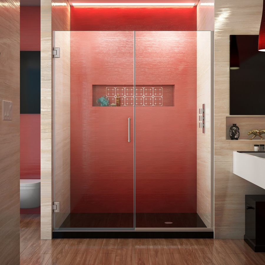 DreamLine Unidoor Plus 60.5-in to 61-in W Frameless Brushed Nickel Hinged Shower Door