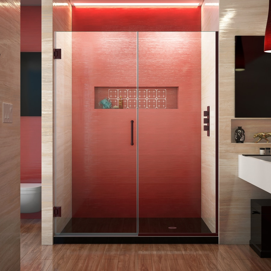 DreamLine Unidoor Plus 60.5-in to 61-in W Frameless Oil Rubbed Bronze Hinged Shower Door