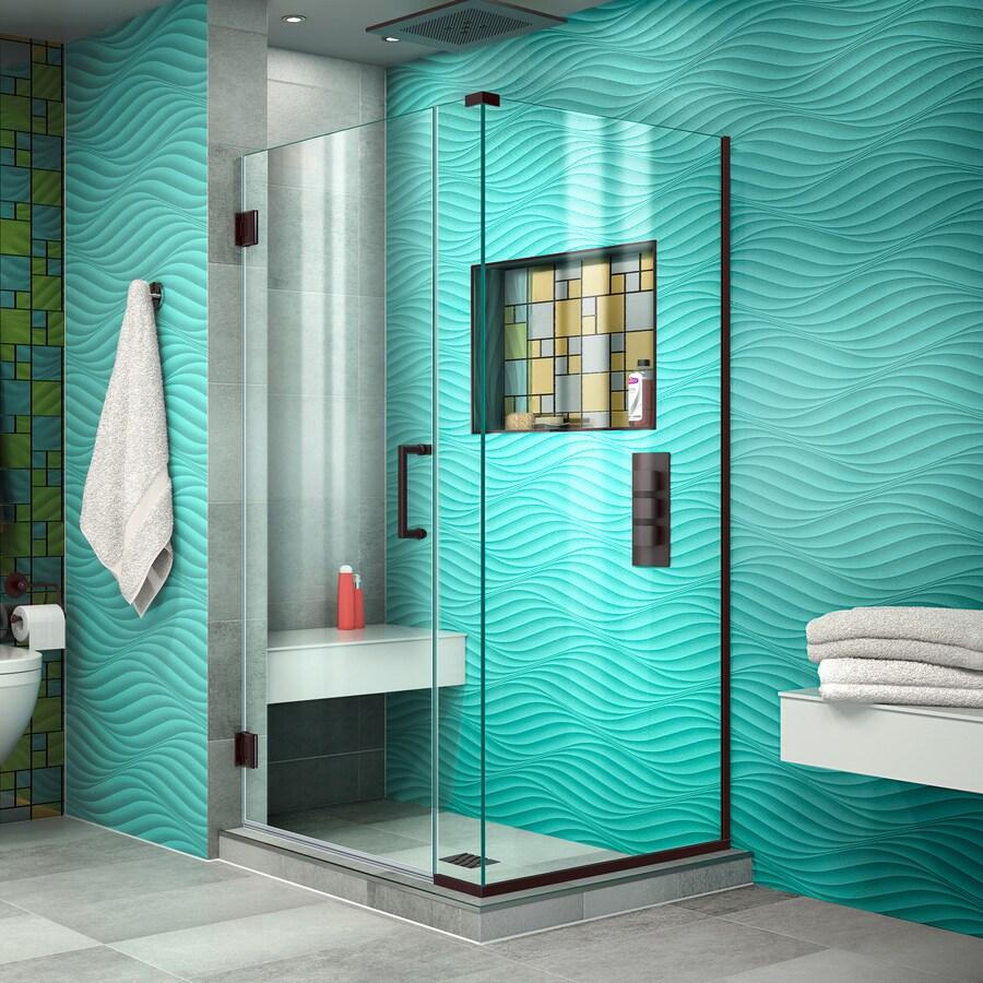 DreamLine Unidoor Plus 31-in to 31-in W Frameless Oil Rubbed Bronze Hinged Shower Door