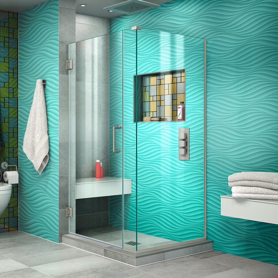 DreamLine Unidoor Plus 31.5-in to 31.5-in Frameless Brushed Nickel Hinged Shower Door