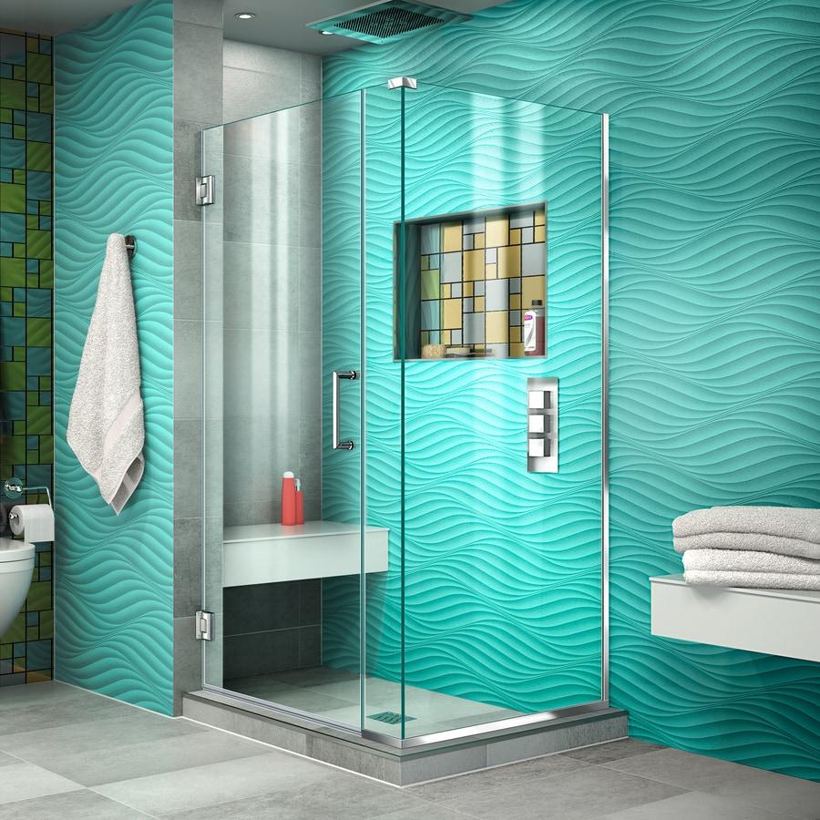 DreamLine Unidoor Plus 33-in to 33-in W Frameless Chrome Hinged Shower Door