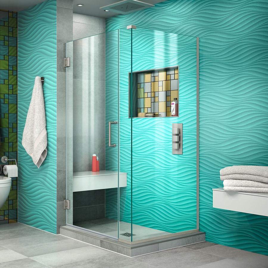 DreamLine Unidoor Plus 36.5000-in to 36.5000-in Frameless Brushed Nickel Hinged Shower Door