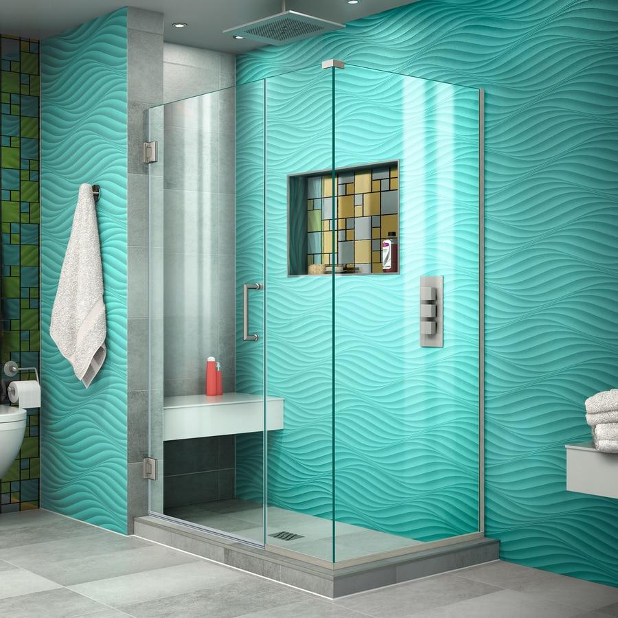 DreamLine Unidoor Plus 37-in to 37-in W Frameless Brushed Nickel Hinged Shower Door