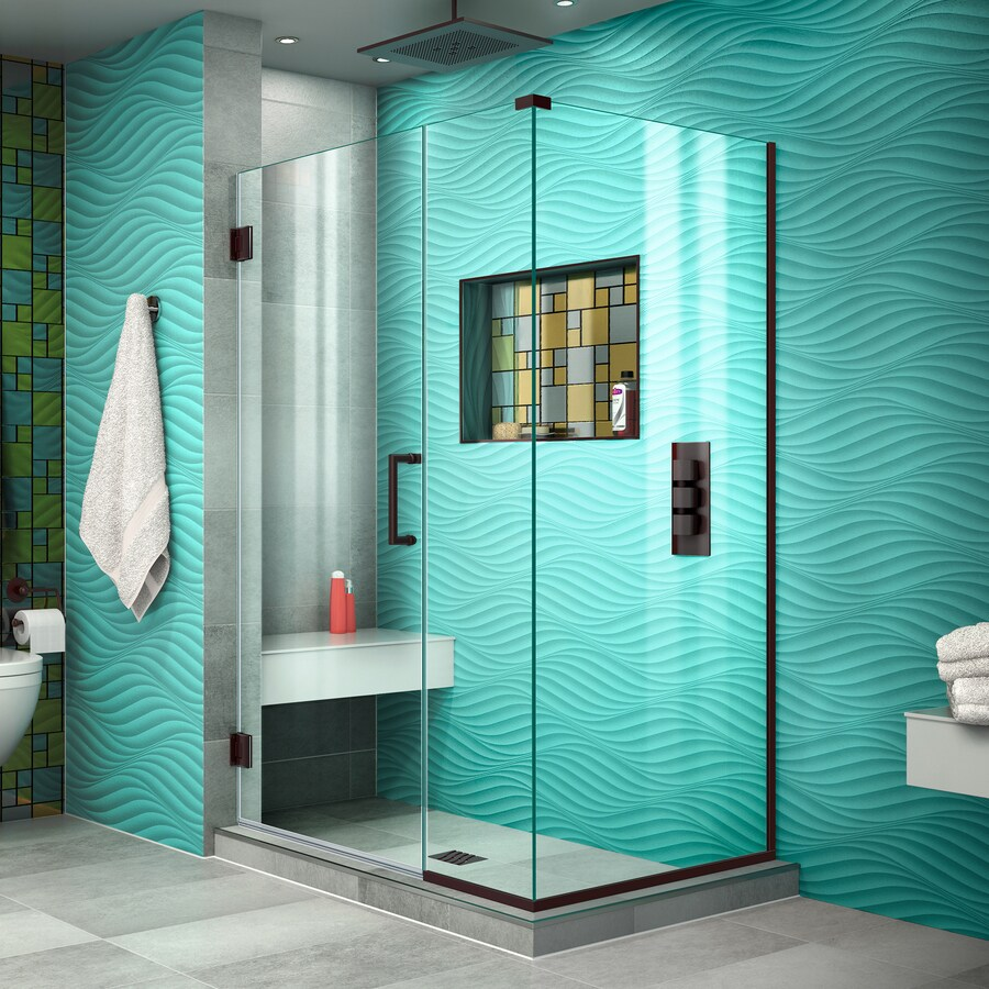 DreamLine Unidoor Plus 44-in to 44-in W Frameless Oil Rubbed Bronze Hinged Shower Door