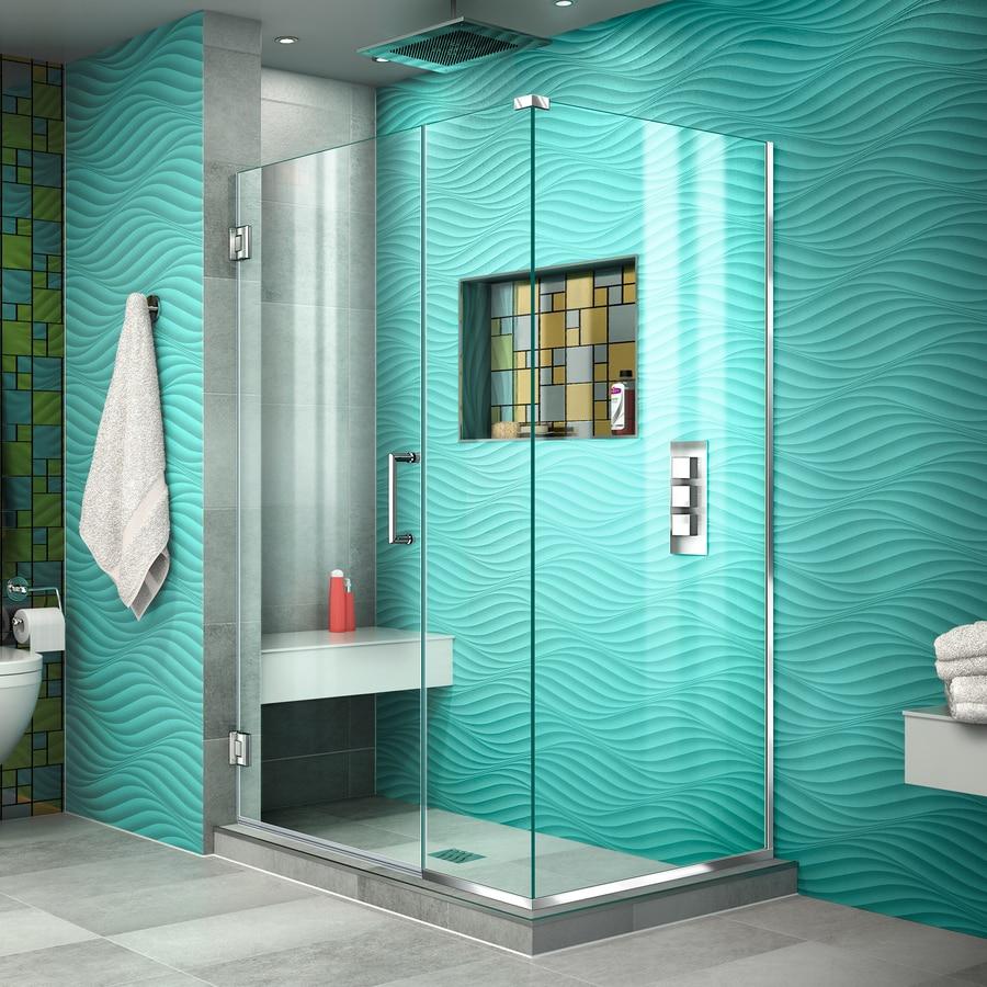 DreamLine Unidoor Plus 44-in to 44-in Frameless Chrome Hinged Shower Door