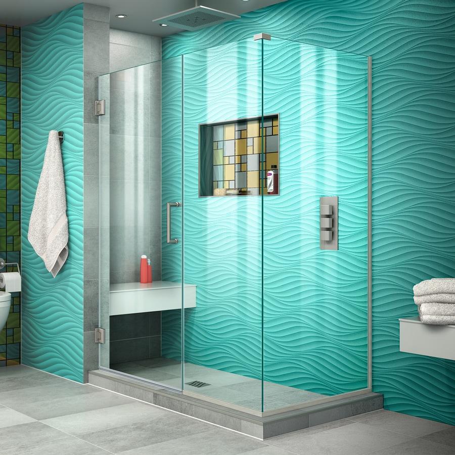 DreamLine Unidoor Plus 45-in to 45-in W Frameless Brushed Nickel Hinged Shower Door