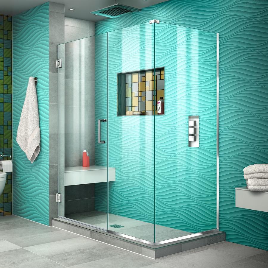 DreamLine Unidoor Plus 46.5000-in to 46.5000-in Frameless Chrome Hinged Shower Door