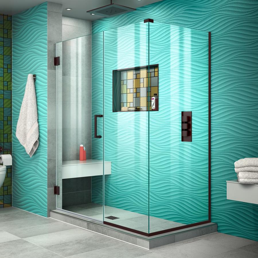 DreamLine Unidoor Plus 46.5000-in to 46.5000-in Frameless Oil Rubbed Bronze Hinged Shower Door