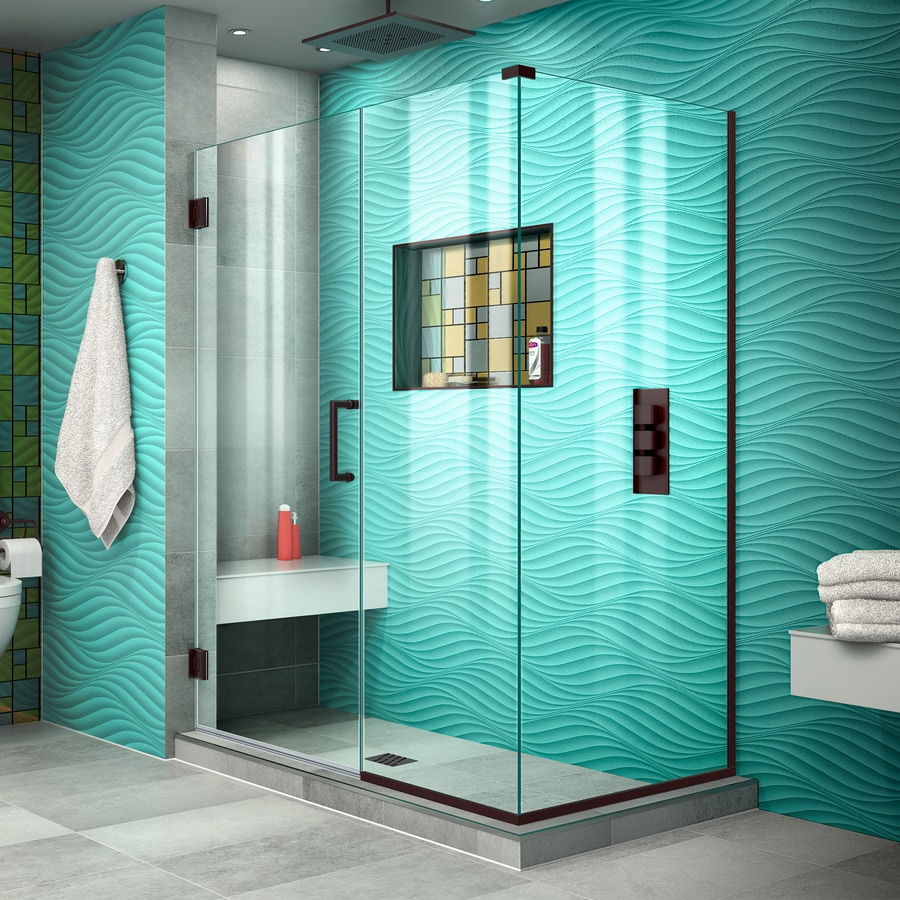 DreamLine Unidoor Plus 46.5-in to 46.5-in W Frameless Oil Rubbed Bronze Hinged Shower Door