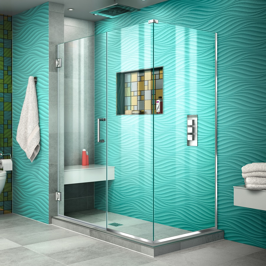 DreamLine Unidoor Plus 51.5-in to 51.5-in W Frameless Chrome Hinged Shower Door