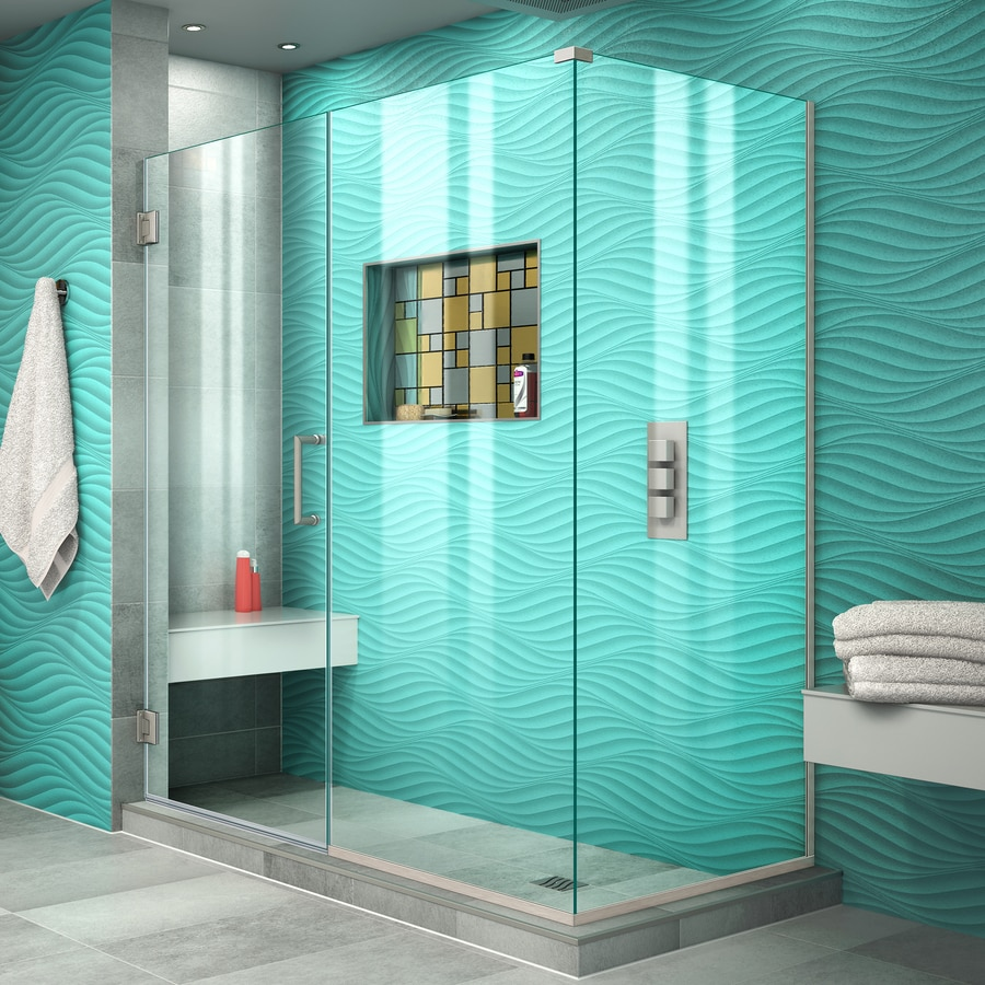 DreamLine Unidoor Plus 60-in to 60-in W Frameless Brushed Nickel Hinged Shower Door