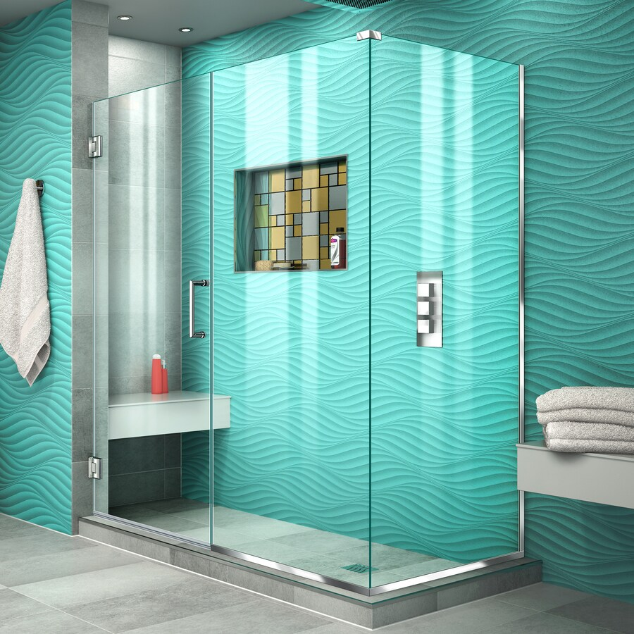 DreamLine Unidoor Plus 54.5000-in to 54.5000-in Frameless Chrome Hinged Shower Door