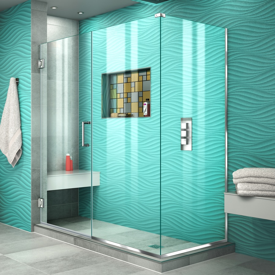 DreamLine Unidoor Plus 56.5-in to 56.5-in W Frameless Chrome Hinged Shower Door