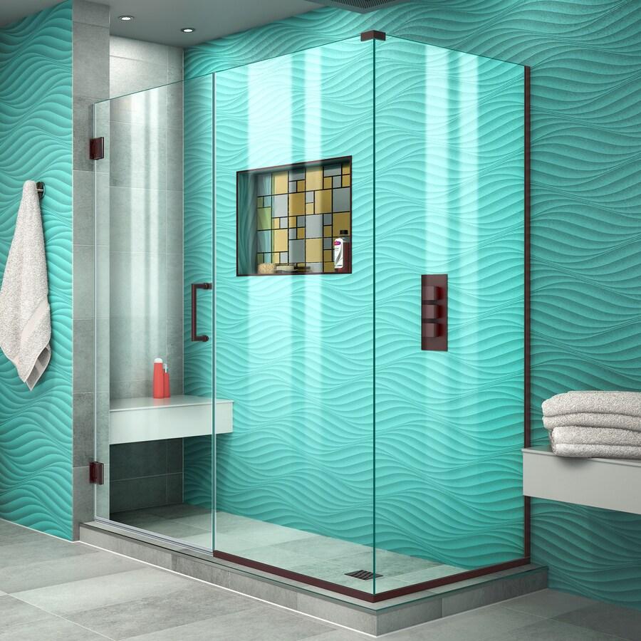 DreamLine Unidoor Plus 56.5-in to 56.5-in W Frameless Oil Rubbed Bronze Hinged Shower Door