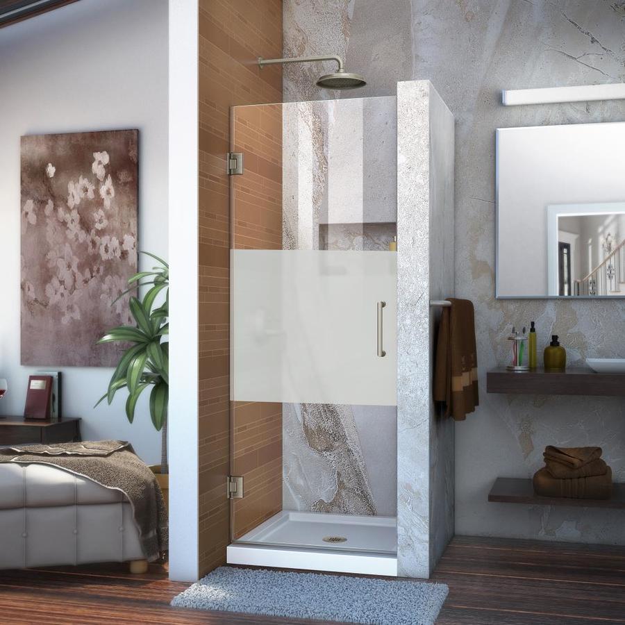 DreamLine Unidoor 27-in to 27-in Frameless Brushed Nickel Hinged Shower Door