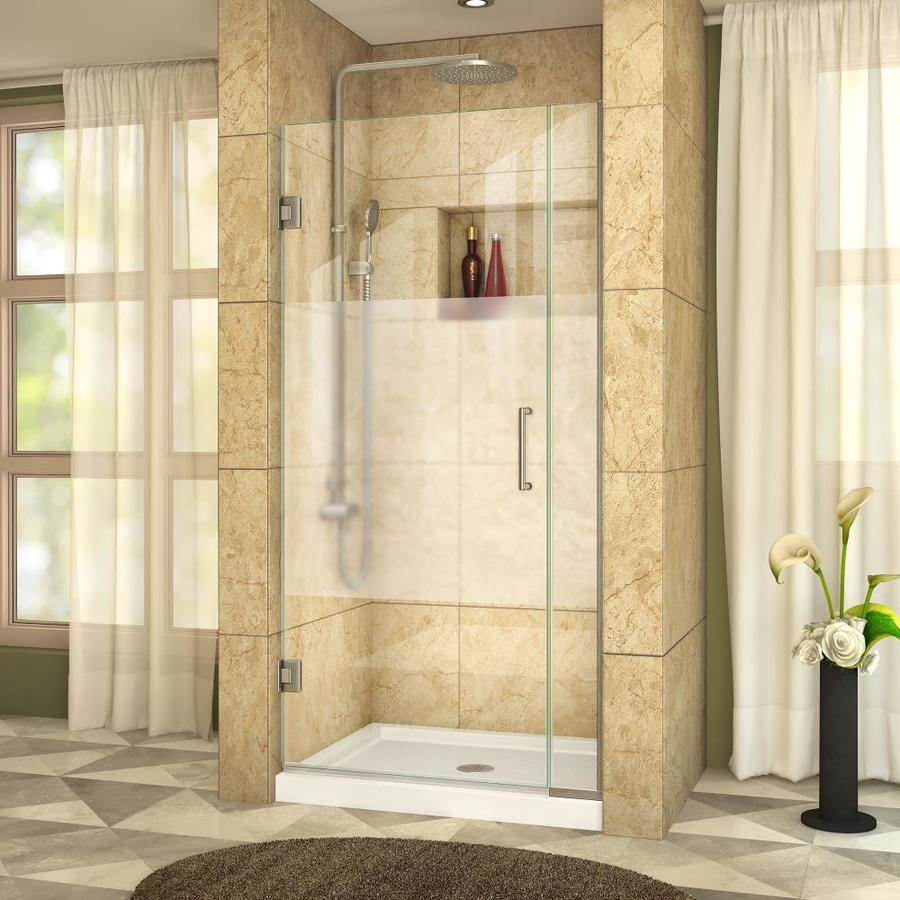DreamLine Unidoor Plus 33-in to 33.5-in W Frameless Brushed Nickel Hinged Shower Door