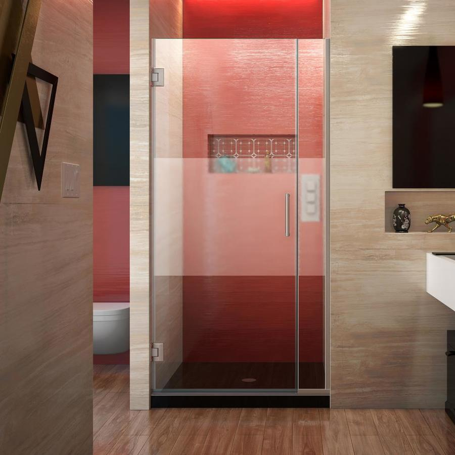 DreamLine Unidoor Plus 35-in to 35.5-in W Frameless Brushed Nickel Hinged Shower Door