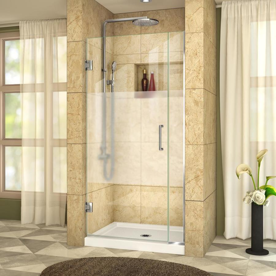DreamLine Unidoor Plus 30.5-in to 31-in W Frameless Chrome Hinged Shower Door