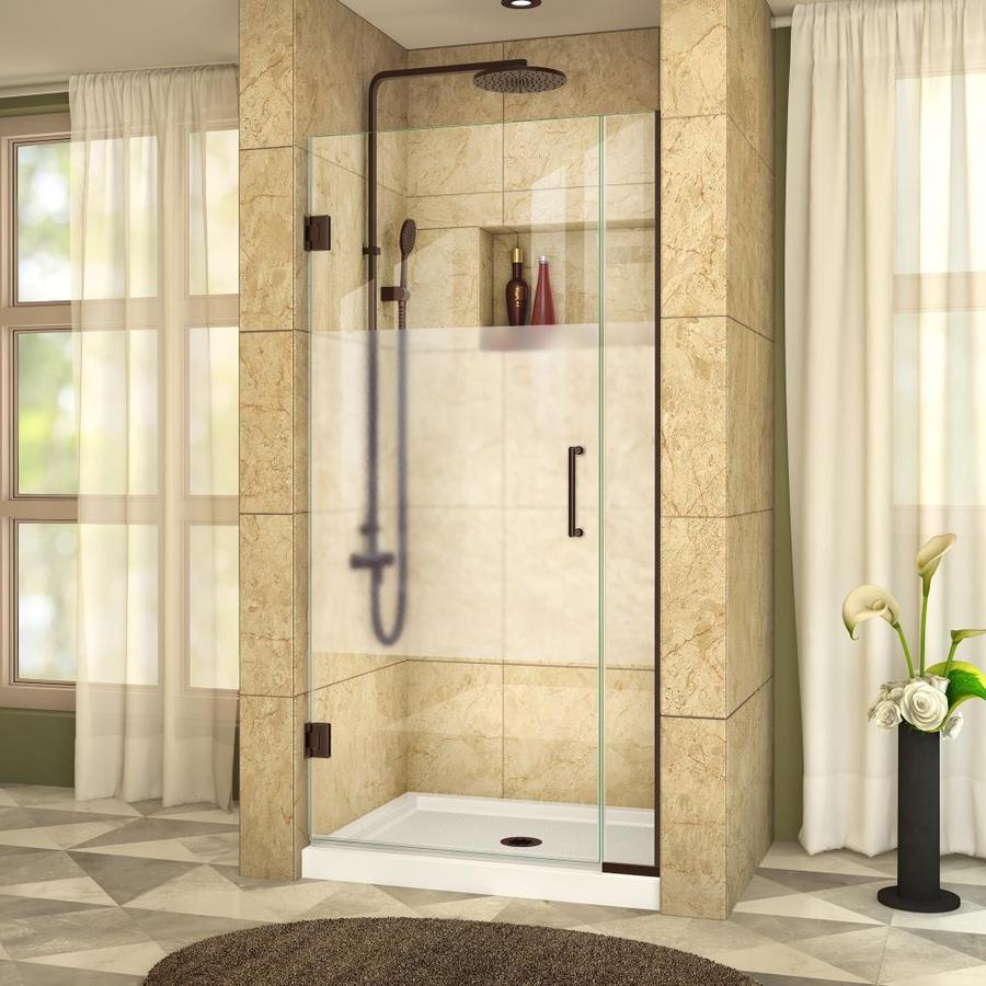 DreamLine Unidoor Plus 32.5-in to 33-in W Frameless Oil Rubbed Bronze Hinged Shower Door